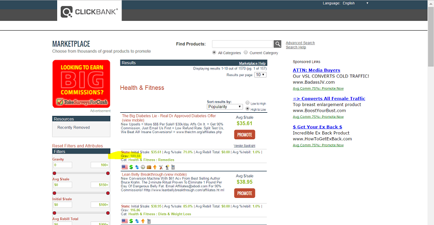 Find best selling products on clickbank